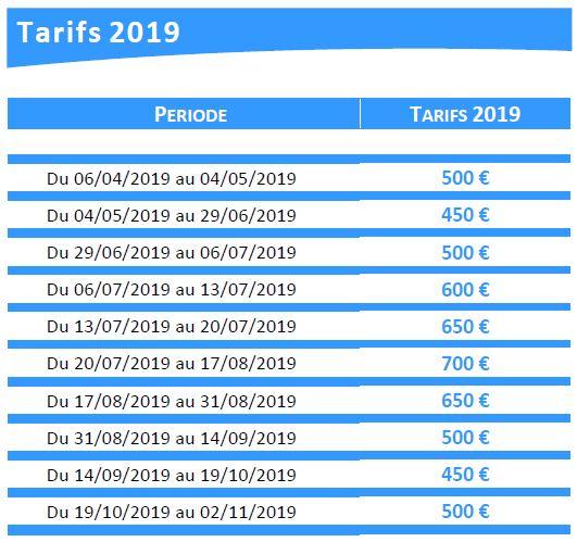Tarifs Reve Bleu 2019